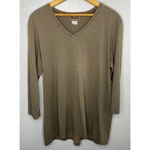 FLAX Brown Long Sleeve Top